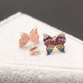 Cercei argint fluturas cu zirconii multicolore, gold cod ARG334