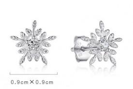 Cercei Din Argint - White Snowflake- cod ARG01A