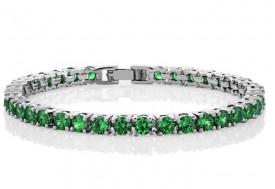 Bratara Silver Tennis Green ARG246
