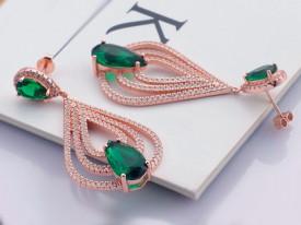 Cercei Din Argint Clear Sapphire cu Sticla Verde Placati cu aur cod ARG219