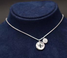 Colier din argint cu cruce si cerc cu zirconii Arg342