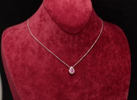 Colier din argint Lacrima cu piatra Roz Arg361A
