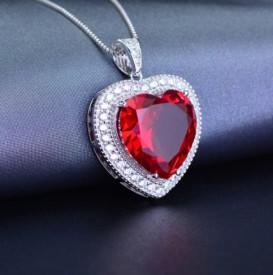 Pandantiv cu Lantisor Argint --RED HEART-- ARG291A