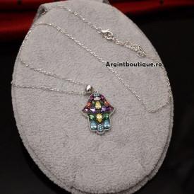 Pandantiv cu lantisor din argint --HAND OF FATIMA MULTICOLOR--COD ARG135