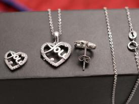 Set Argint 925 Rodiat --LOVE YOU-- cod ARG242