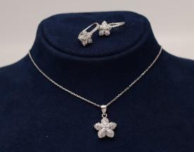 Set din argint Special Flower cu rodiu si cristale cod SET307
