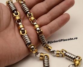 Set Lant+Bratara inox Auriu Argintiu S210