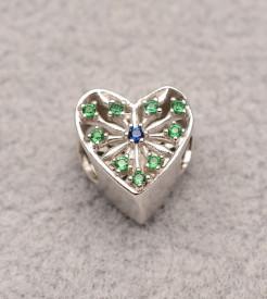 Talisman din argint Green & Blue Heart CHA1095