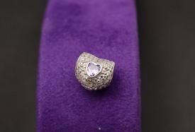 Talisman Din Argint Inimioara Mov- CHA1039