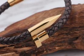 Bratara Barbati Placata Aur Solida Piele Maro -INCHIZATOARE Magnetica- Inox B996D
