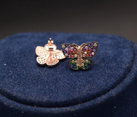 Cercei argint fluturas cu zirconii multicolore, cod ARG307B