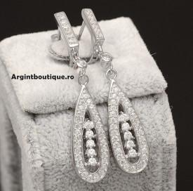 Cercei Din Argint Clear Sapphire cod ARG106