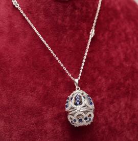 Colier Cu Lantisor Din Argint -- FABERGE DIAMOND Blue--ARG299