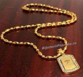 Lant inox si Medalion Auriu LC87
