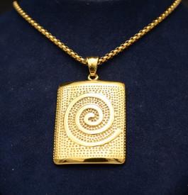 Lant Inox Ton Auriu si Medalion LC54D