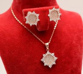 Set Argint 925 Lant,Pandativ si Cercei Rodiat Roze ---- SET279
