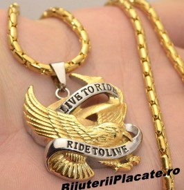 Lant inox si Medalion --- LIVE TO RIDE--RIDE TO LIVE --- LC95