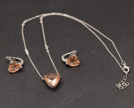 Set elegant din argint 925 cu zirconii Sampanie SET253B