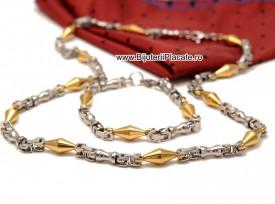 Set Lant+Bratara inox model Byzantine Ton Auriu si Argintiu cod S182