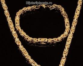 Set Lant Si Bratara Inox Auriu Versace Cod S42
