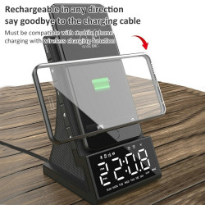 Incarcator wireless multifuncțional - cu ceas, alarmă, radio și telecomandă