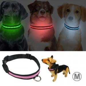 Guler reglabil cu 3 moduri LED intermitent pentru câini, dimensiune: M (Livrare aleatorie a culorilor)