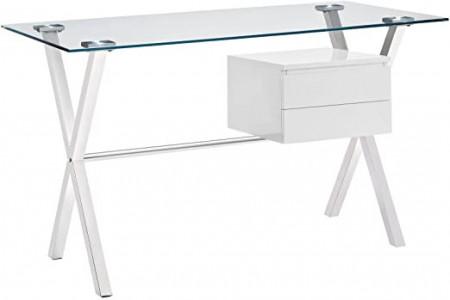 Slika Radni sto za ordinaciju,Modern Glass-Top Office Desk In White