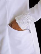 Medical Fashion scrubs-Jaleco Feminino Acinturado Gabardine Com Renda