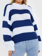 In The Style In The Style X Billie Faiers Stripe Oversized Jumper - Navy