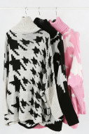 Dog Tooth Print Roll Neck Kitted Jumper