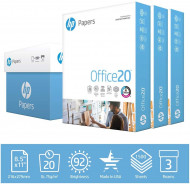 HP Printer Paper 8.5x11 Office 20 lb 3 Ream Case 1500 Sheets 92 B