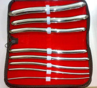 SCULAPE Stainless Steel Hegar Uterine Dilators Set of 8 with Carrying Case
