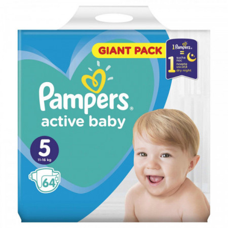 Scutece Pampers Active Baby nr. 5, 11-16 kg, 64 buc