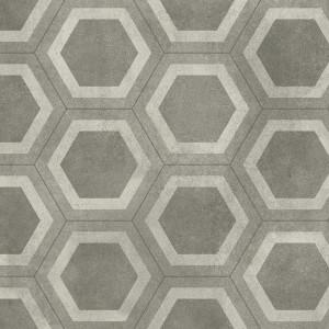 Covor PVC antiderapant AQUARELLE FLOOR - Honeycomb Tile GREY