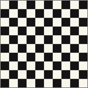 Covor PVC antiderapant AQUARELLE FLOOR - Square BLACK & WHITE