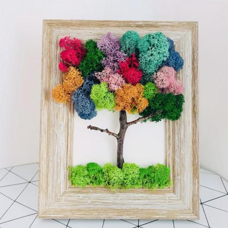 Tablou cu pomisor multicolor din licheni