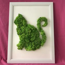 Tablou cu licheni in forma de pisica