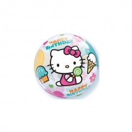 "Poze Balon Bubble 22"" Happy Birthday Hello Kitty"