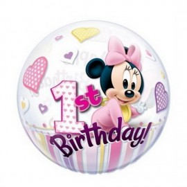 Poze Balon Bubble Minnie Mouse 1st Birthday
