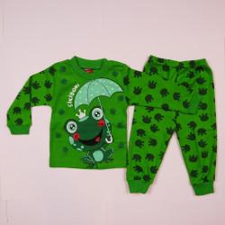 """Pijama 2 Piese """"Broscuta"""" Verde Bumbac 100% Baieti 1-3 Ani"""