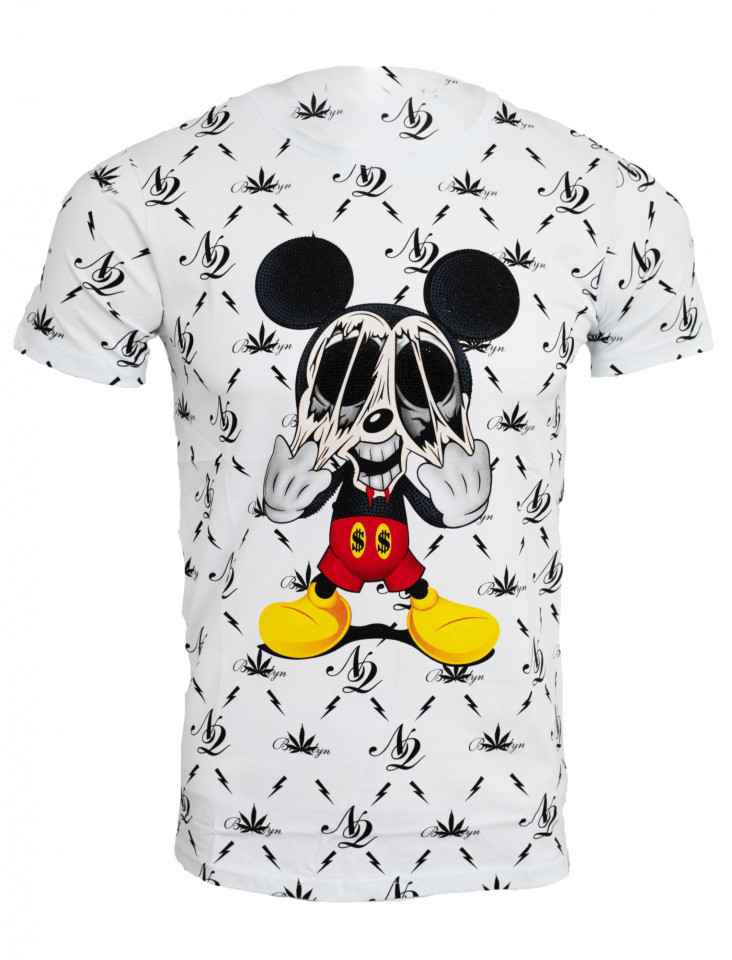 Tricou imprimeu all over Mickey alb N12