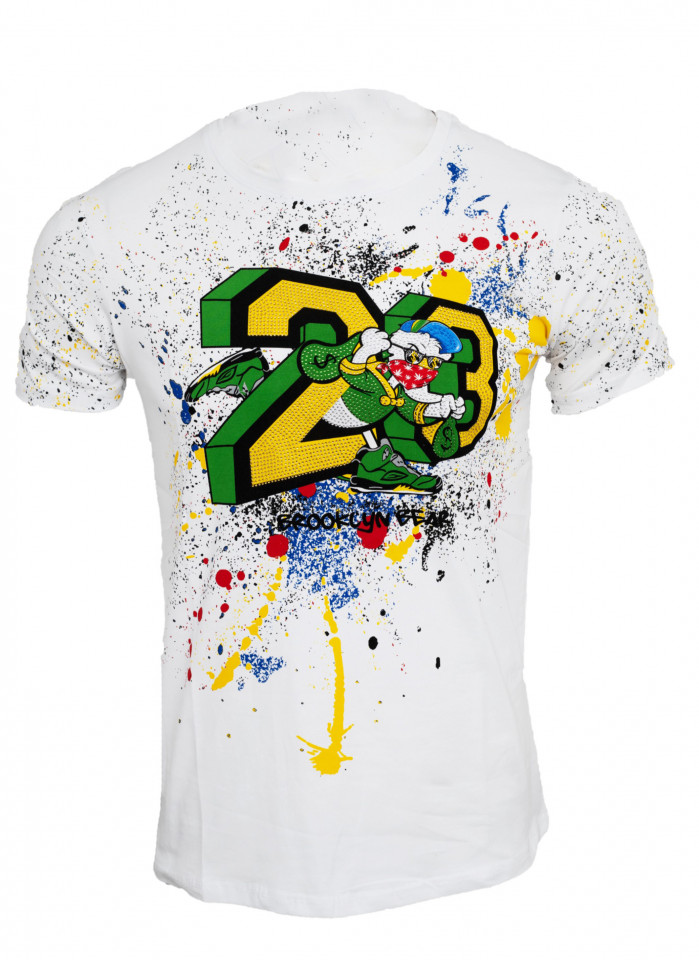 Tricou imprimeu Splash alb N7