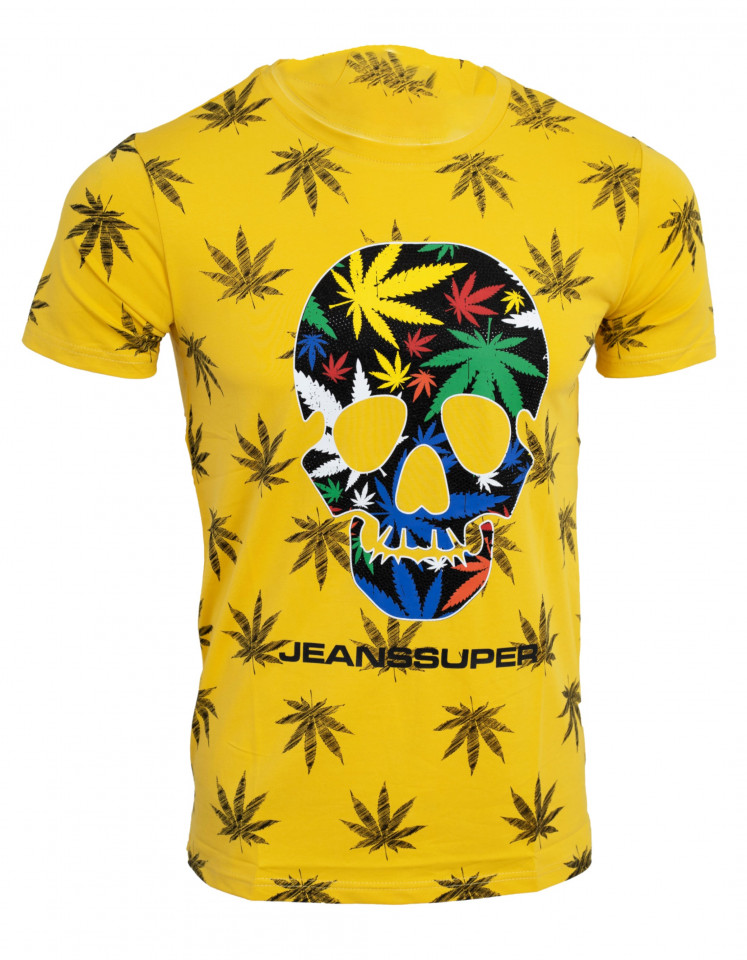 Tricou imprimeu all over Skull galben N30