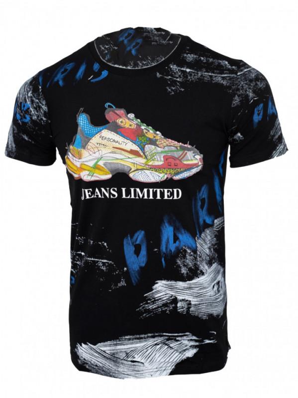 Tricou imprimeu all over Shoe negru N13