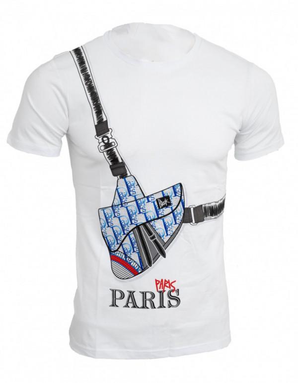 Tricou imprimeu Paris alb N41