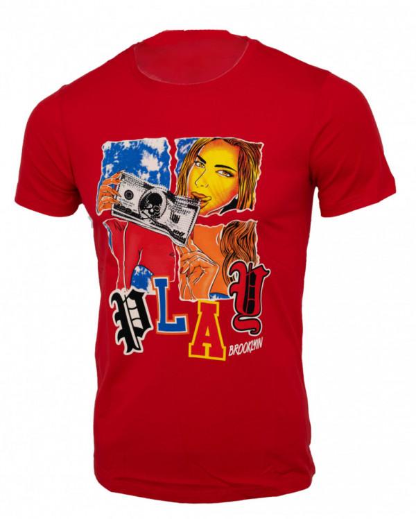 Tricou imprimeu Play rosu N31
