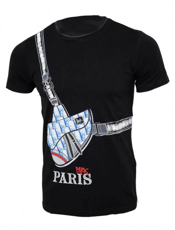 Tricou imprimeu Paris negru N61