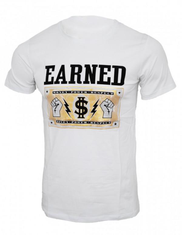 Tricou imprimeu Earned alb N59