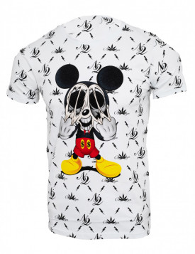 Tricou imprimeu all over Mickey alb N12