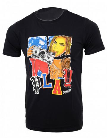 Tricou imprimeu Play negru N40